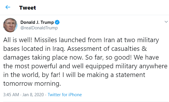 Iran launches multiple missiles at U.S. Military Bases in Iraq
