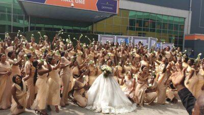 Sandra Ikeji breaks record with 200 bridesmaids (photos)