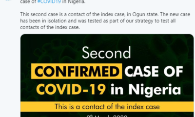 Coronavirus: Second case of COVID-19 confirmed in Nigeria